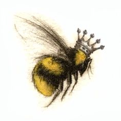 Queen bee tattoo - Queen bee tattoo You are in the right place about feather tattoo Here we offer you the most beautif - Bumble Bee Tattoo, Honey Bee Tattoo, Bumble Bee Wings, Bumble Bees, Queen Bee Tattoo, Skull Tatto, Dragons Tattoo, Bee Drawing, Natur Tattoos