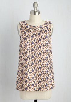 When you have to wear a spiffy ensemble but don't want to don a dress, choose this floral top! With its terracotta, ivory, ochre, and slate blue hues, curved collar, and smooth, woven fabric, this ModCloth-exclusive blouse shows that no stylish detail is missed on you.