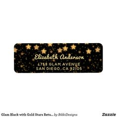 Shop Glam Black with Gold Stars Return Address Labels created by BikkiDesigns. Custom Return Address Labels, Address Label Template, Label Templates, Cursive Script, Gold Stars, Customized Gifts, Gift Tags, Typography, Sparkle