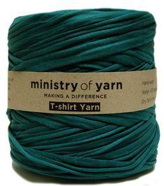 Dark green t-shirt yarn Australia recycled socially responsible