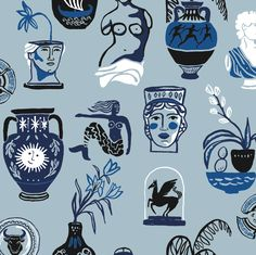 Hand painted greek mythology pattern for Sissy-Boy Homeland Mythology Books, Greek Mythology Art, Tableaux D'inspiration, Greek Pattern, Concept Art Tutorial, Mystique, Greek Art, Flash Art, Sissy Boy