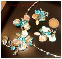 BLUE SYMPHONY Jewelry Set, Necklace + Earrings, handmade flower with turquoise mother-of-pearl, prehnite gems, pearls, wire wrap and accessories Silver plated ; For More Products: live a private message on  www.etsy.com/your/shops/CamelysUnikatBijou or on www.facebook.com/unikat.bijou.handmade.Camely,