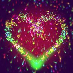 neon fireworks heart