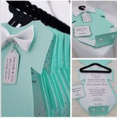 8 piece onesie invitation complete with hanger and tags perfect for memorable baby showers