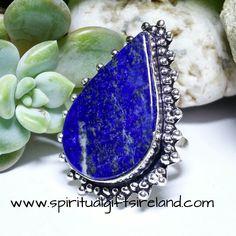 Lapis Lazuli Huge Teardrop Statement Ring Sterling Silver