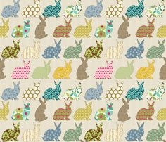 year of the COLORFUL rabbit fabric by littlerhodydesign on Spoonflower - custom fabric or wallpaper or decal