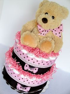 teddy bear centerpieces for baby shower | Baby Shower Diaper Cake Pink & Brown Polka by DomesticDivaDesignz