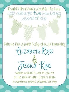 Joint baby shower invitation onesies digital printable file double baby shower invitation idea filmwisefo Images