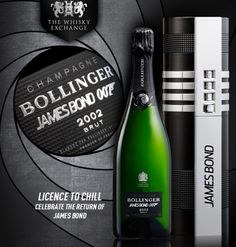 To celebrate the Anniversary of James Bond, Bollinger is releasing a Limited Edition Bond-Themed Champagne complete with special packaging. With 007 Champagne Party, Champagne Bottles, Bollinger Champagne, James Bond Theme, Packing A Cooler, Wall Hung Toilet, Acquired Taste, Whisky, Chill