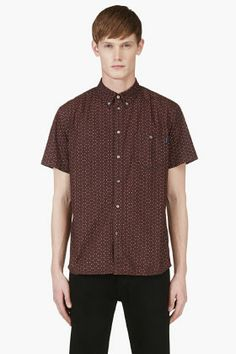 Paul Smith Jeans Maroon Triangle Print Shirt for men | SSENSE
