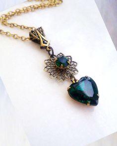 gothic pendant necklace emerald green swarovski - Guinevere. €35.00, via Etsy.