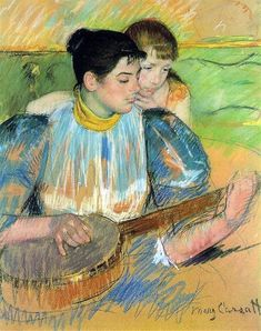 Mary Cassatt - The Banjo Lesson, 1894 fine art preproduction . Explore our collection of Mary Cassatt fine art prints, giclees, posters and hand crafted canvas products Edgar Degas, Camille Pissarro, Pittsburgh, Renoir, Canvas Art Prints, Painting Prints, Mary Cassatt Art, Women Artist, Female Artist