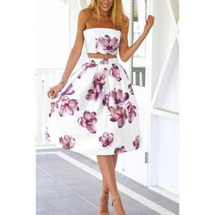 Yoins White Sexy Wrapped Chest Random Floral Print Cut Out Midi Dress (67 BRL) ❤ liked on Polyvore featuring dresses, white, sexy white dresses, white sleeveless dress, sexy dresses, sexy party dresses and floral wrap dress