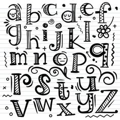Doodle Fonts, Doodle Lettering, Creative Lettering, Lettering Styles, Graffiti Lettering, Chalk Lettering, Doodle Alphabet, Hand Lettering Alphabet, Calligraphy Letters