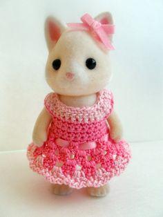 Calico Critter Dress -- Crochet Party Dress