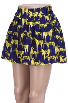#Romwe ROMWE | Horse & Dog Blue Skirt, The Latest Street Fashion
