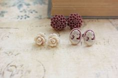 This is a beautiful sepia tone collection of flower and cameo stud earrings. These earrings are vintage inspired and are a gorgeous collection