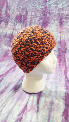 Crochet Chicago Bears Blue and Orange Skull Cap by CraftyColors, $15.00