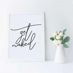 Get Naked Bathroom Art Print Printable Bathroom by SweetAndMallow