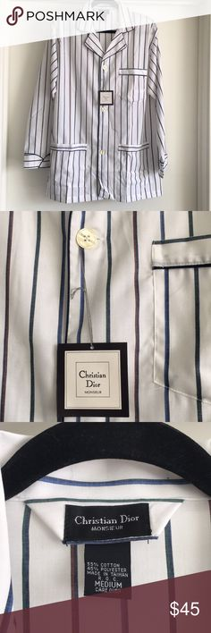 NWT christian Dior monsieur cotton sleep shirt nwt Mens Size medium Dior Shirts Tees - Long Sleeve