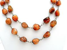 "Vintage Agate Bead Necklace Silver Wire Wrapped 48"" Caged Brown Banded Gemstone #Bead"