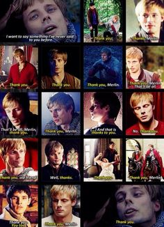 Even though he says it to Merlin a lot. This is for everything...Magic and all, for being a brother by everything but blood, being his most loyal friend and servant. I cried but he said Thank you for everything he has done for Arthur.