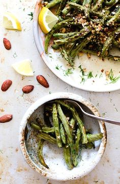 5 Ingredient Blistered Green Beans with Crushed Almonds & Dill {healthy summer recipe}