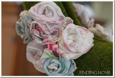 flowers from vintage handkerchiefs
