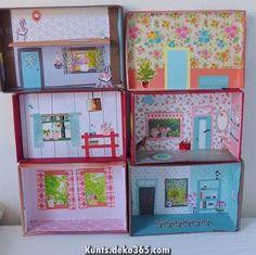 Kids Doll House, Doll House Crafts, Cardboard Dollhouse, Diy Dollhouse, Doll Furniture, Dollhouse Furniture, Toddler Crafts, Crafts For Kids, Diy Friendship Bracelets Patterns