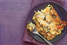 Chicken-and-Spinach Lasagna - Lightened Up Slow-Cooker Recipes - Southernliving. Recipe: Chicken-and-Spinach Lasagna