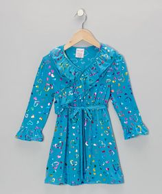 Take a look at this Turquoise Shimmer Heart Surplice Dress - Toddler & Girls by S.W.A.K. on #zulily today!
