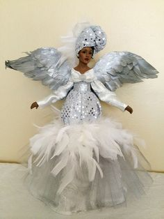 african american christmas angel silver sparkle ooak black angel tree topper holiday decoration