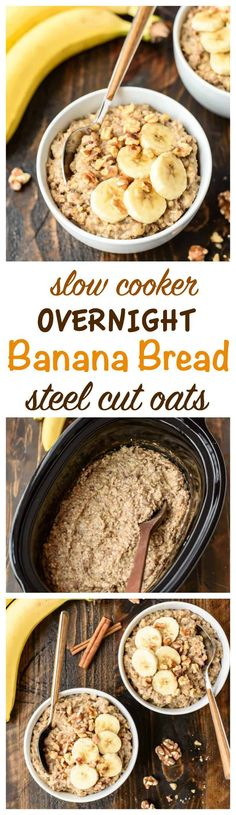 Banana Bread Overnight Steel Cut Oats is the best breakfast recipe that you don't have to wait for! This easy oatmeal cooks overnight in a slow cooker! #crockpot #breakfast #oatmeal #recipe