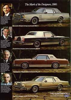 Vintage Car Models The 1980 redesigned Lincoln Mark series was offered, again in four special designer trim levels. Buyers could purchase the new Mark VI in specially trimmed and painted models by Cartier, Bill Blass, Hubert Givenchy and Emilio Pucci. American Classic Cars, Ford Classic Cars, Lincoln Motor Company, Ford Motor Company, Lincoln Town Car, Ford Lincoln Mercury, Lincoln Continental, Car Advertising, Us Cars