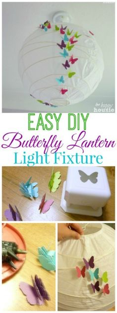 But with realistic butterflies! DIY Butterfly Lantern Light Fixture - tutorial at The Happy Housie