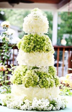 White Chocolate Shavings with Hydrangeas, Wedding Cake--using white, blue or pink hydrangeas would make this cake look great too!
