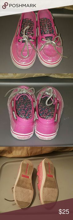 Little Girl pink Sperrys Pink sperrys with sequins super cute! Used size 12.5 sperrys Shoes