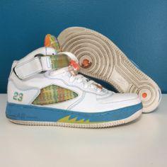 Nike Air Jordan Fusion AJF5 Size 8.5 White Orange Blue Basketball Sneakers 2007