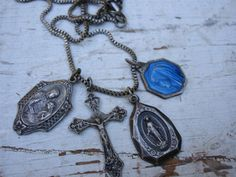 Vintage Religious Medals Necklace