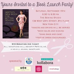 This book launch party invite for Gertie's New Book for  Better Sewing is also a fundraiser for a good cause. #writing #author