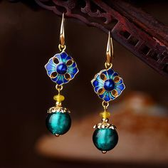 Luxury Retro Dangle Earrings Cloisonne Flower Agate Handmade Gold Earrings for Women Ethnic Jewelry Prom Earrings, Flower Earrings, Stud Earrings, Ethnic Jewelry, Fine Jewelry, Women's Jewelry, Jewellery, Luxury Jewelry, Jewelry Trends