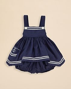 Ralph Lauren Childrenswear Infant Girls' Nautical Seersucker Tunic & Bloomer Set - Sizes 9-24 Months