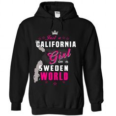 Just An California Girl In A Sweden World - #tshirt diy #crochet sweater. PURCHASE NOW => https://www.sunfrog.com//Just-An-California-Girl-In-A-Sweden-World-2062-Black-Hoodie.html?68278