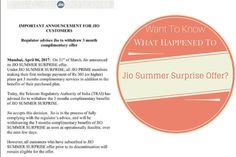 Reliance Jio Summer Surprise Offer No More Available; Free Benefits Will Be Withdrawn After Taking Certain Considerations Benefit, Internet, Shit Happens, Summer, How To Make, Free, Summer Time, Verano