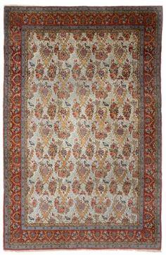 "Fine Ghom Rug / Carpet, Central Persia  Date of manufacture: 1920  Height = 338 cm (133"")  Width = 220 cm (87"")"