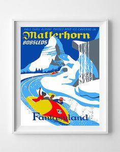 Vintage Disneyland Poster Print Matterhorn by InkistPrints on Etsy