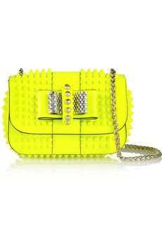 Christian Louboutin Sweety Charity mini spiked neon patent-leather shoulder bag   NET-A-PORTER