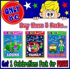 Buy the 3 Let's Talk About... Packs for ONLY 8€ ​and get 1 Celebrations Pack for FREE!