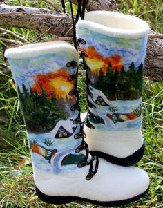 White Female Felt Boots 100 Wool Filzschuhe by FeltZeppelin, €180.00