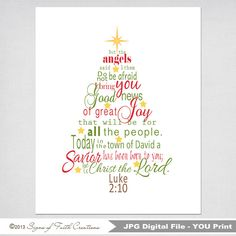 Christmas Tree Printable Scripture Art with Luke 2 Bible verse in Green and Red - INSTANT DOWNLOAD - Christmas Gift,  Wall Art, Decor
